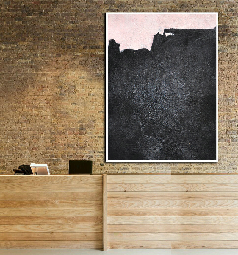 Oil Painting Large Abstract Art, Hand Painted Aclylic Painting On Canvas Minimalist Art, Black Pink.