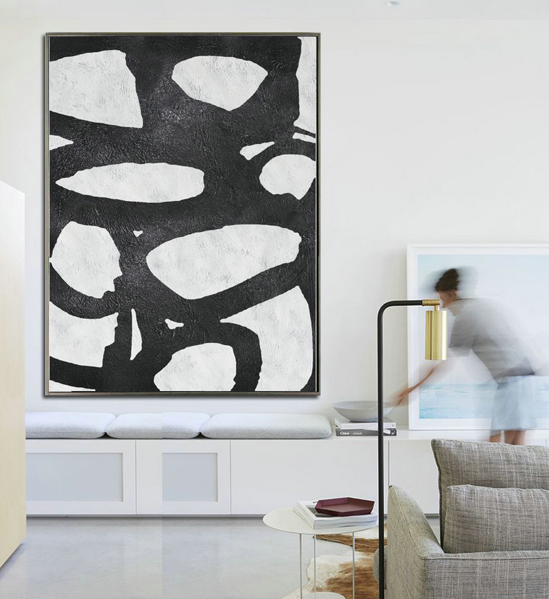 Extra Large Acrylic Painting On Canvas, Minimalist Painting Canvas Art, Black And White Geometrical Painting, HAND PAINTED Original Art.