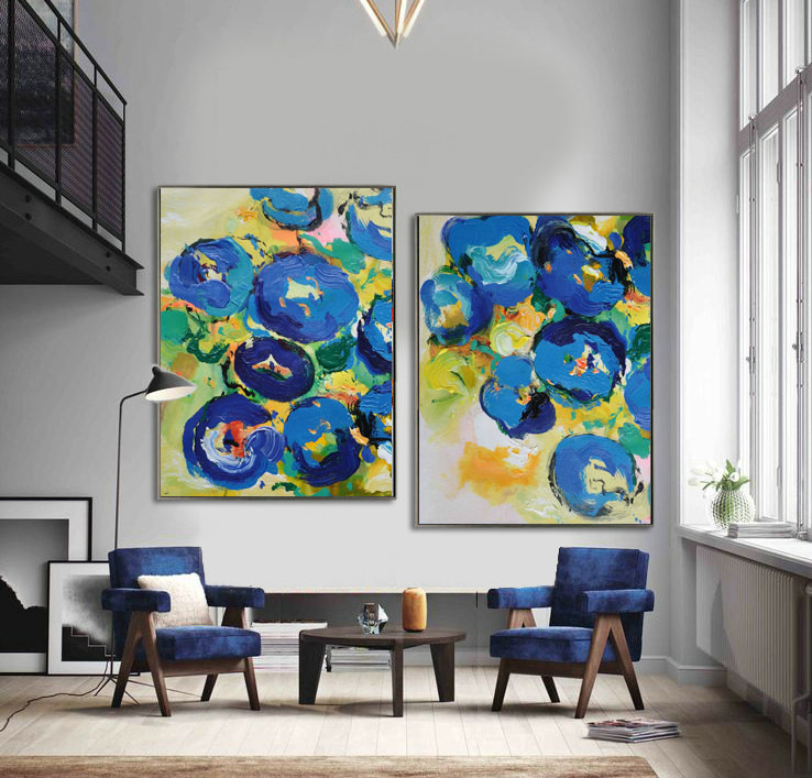 Set Of 2 Large Contemporary Painting, Abstract Canvas Art, Original Artwork, Blue, yellow, green, red, pink - By Leo