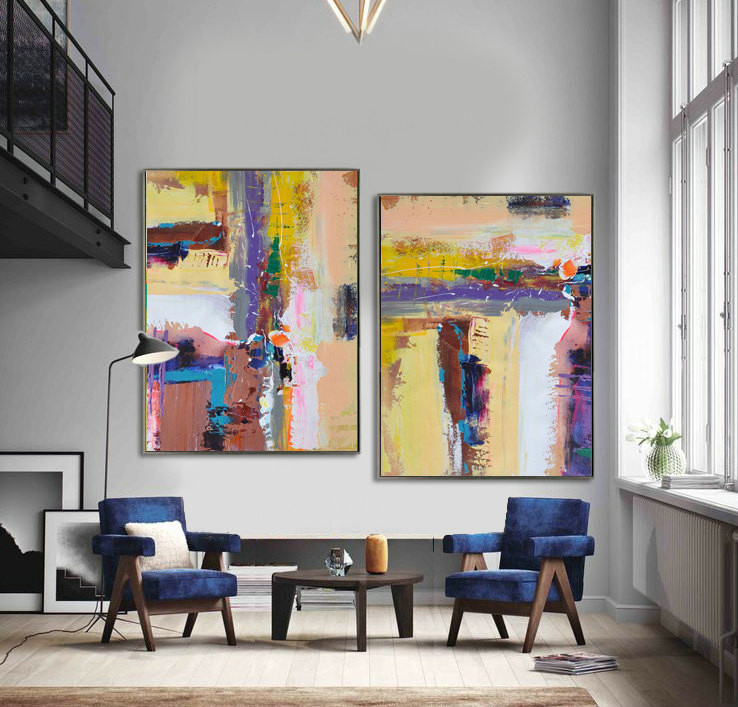 Set Of 2 Large Contemporary Painting, Abstract Canvas Art, Original Artwork, Brown, purple, yellow, blue, pink - By Leo