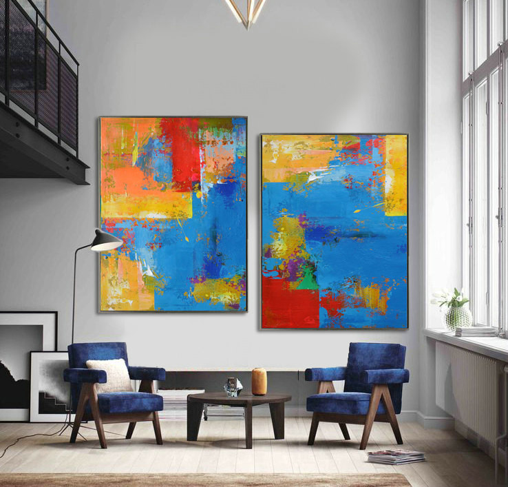 Set Of 2 Large Contemporary Painting, Abstract Canvas Art Original Artwork, Hand paint. Blue, red, yellow, orange - By Leo