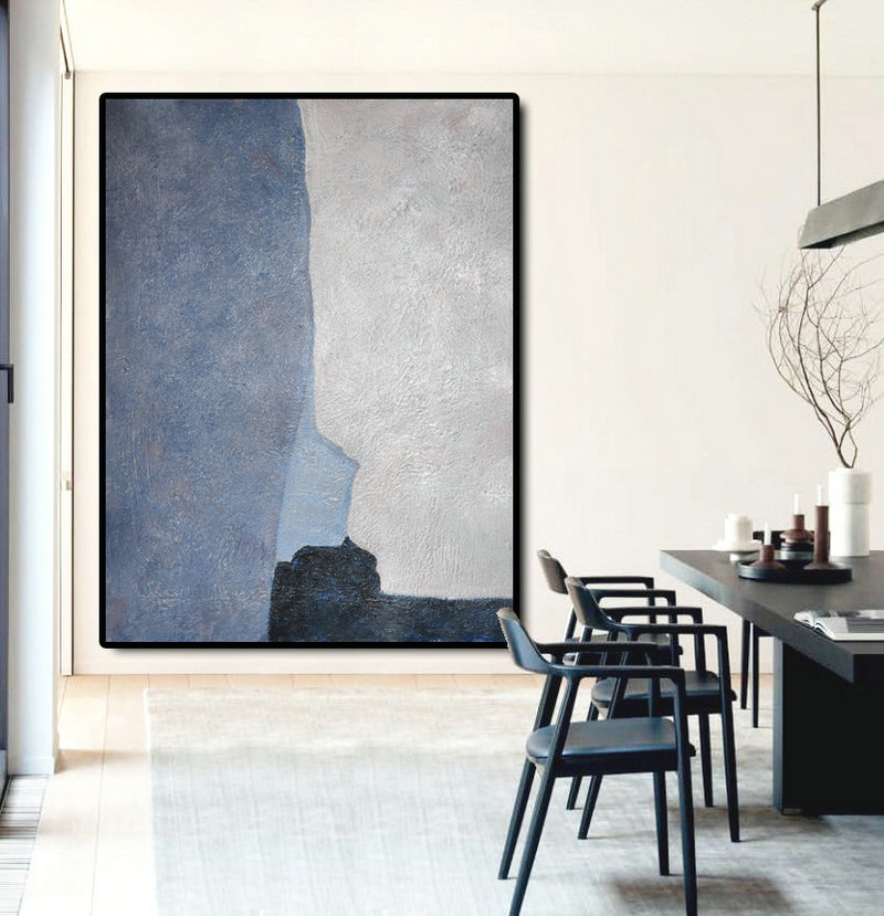 Large Abstract Art Oil Painting Canvas Art, Contemporary Art Hand Painted Abstract Painting, Black Blue Grey.