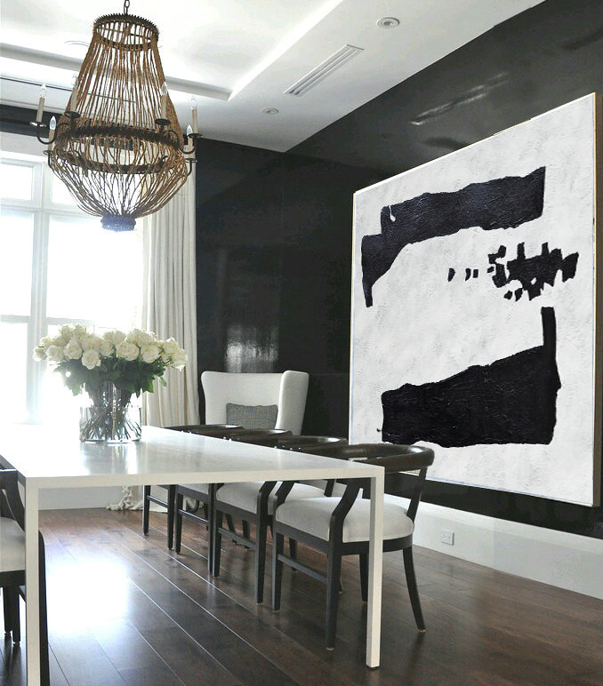 Large Abstract Art, Hand Painted Oil Painting Minimalist Art, Abstract Painting On Canvas, Geometric Art. Black White.