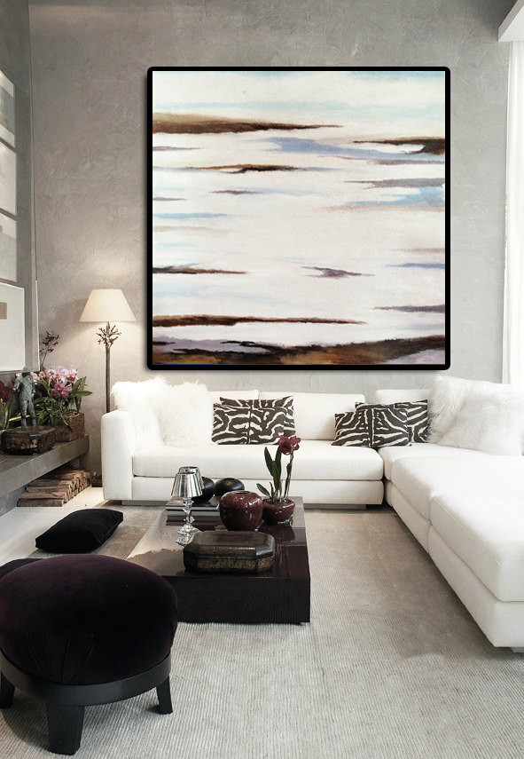 Original Art Extra Large Abstract Painting on Canvas Landscape Painting Canvas Art, Hand Painted By Dao. White Brown Blue