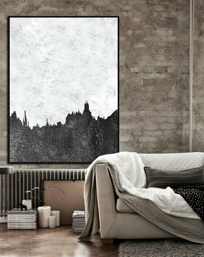 Large Abstract Painting, Hand Made Painting Minimalist Art, Abstract Art On Canvas, Modern Art. Black And White.