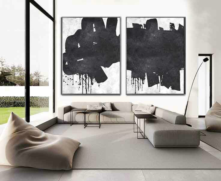 Set Of 2 Huge Contemporary Art Acrylic Painting On Canvas Minimalist Wall Home