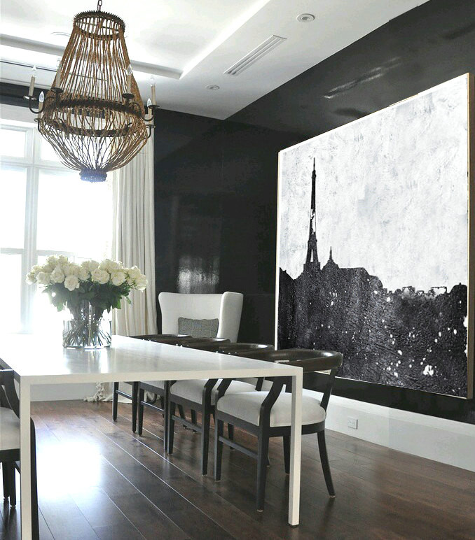 Large Abstract Painting, Hand Made Painting Minimalist Art, Horizontal Abstract Art On Canvas, Modern Art. Black And White Landscape.