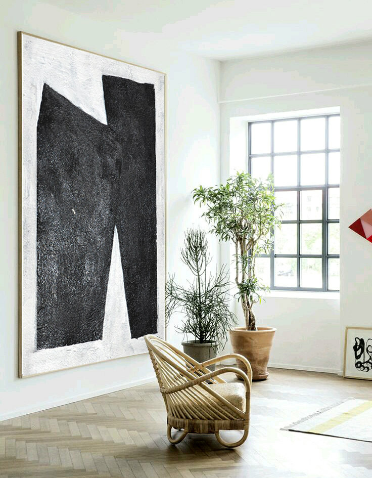 Large Abstract Art, Handmade painting Minimalist Art, Abstract Painting On Canvas, Geometric Art. Black White.