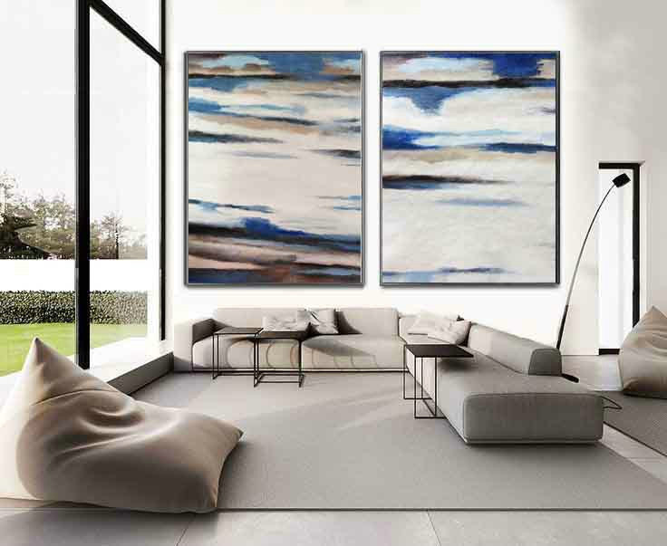 Set Of 2 Extra Large Contemporary Art, Acrylic Abstract Landscape Canvas Art, HANDMADE.
