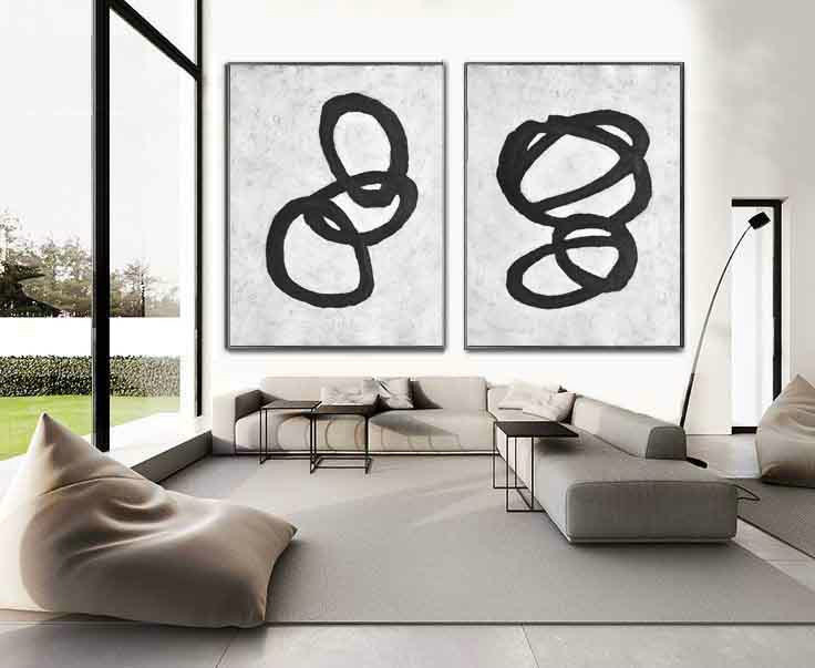 Set Of 2 Huge Contemporary Art Acrylic Painting On Canvas, Minimalist Canvas Wall Art Home Decor, Magic Circles