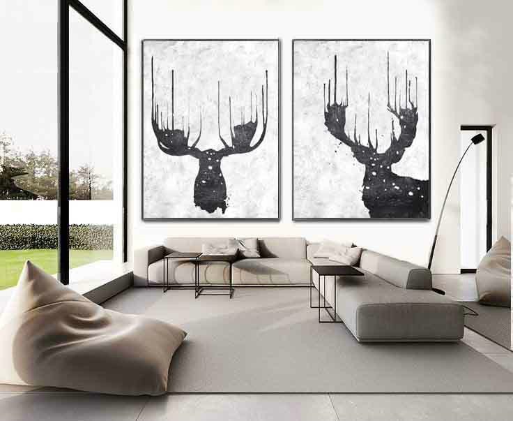 Set Of 2 Extra Large Acrylic Painting On Canvas, Minimalist Painting Canvas Art, Abstract Painting Wall Art, Reindeer