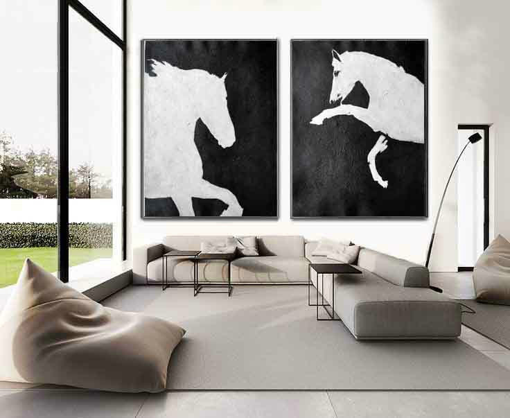 Set Of 2 Huge Contemporary Art Acrylic Painting On Canvas, Minimalist Canvas Wall Art Home Decor, Horse,