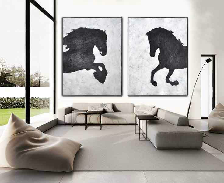 Set Of 2 Huge Contemporary Art Acrylic Painting On Canvas, Minimalist Canvas Wall Art Home Decor, Horse, HANDMADE.