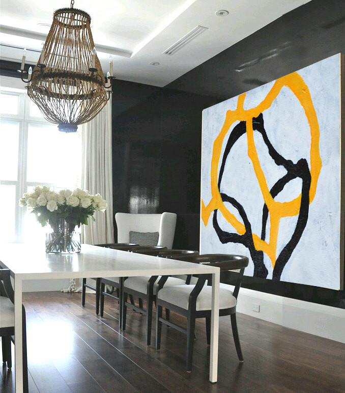 Handmade Painting Large Abstract Art, Hand Painted Aclylic Painting On Canvas Minimalist Art, Black White Yellow.