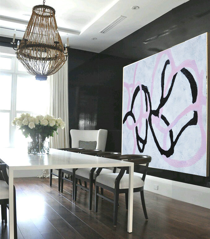 Handmade Painting Large Abstract Art, Hand Painted Aclylic Painting On Canvas Minimalist Art, Black White Purple.