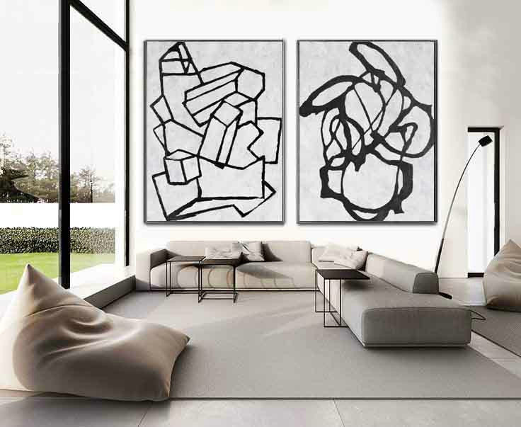 Set Of 2 Huge Contemporary Art Acrylic Painting On Canvas, Minimalist Canvas Wall Art Home Decor, Geometrical Art