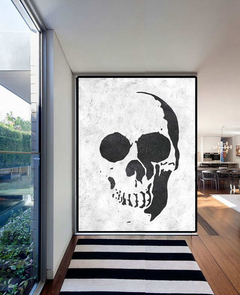 Extra Large Acrylic Painting On Canvas, Minimalist Painting Canvas Art, Black White Skull Painting, HAND PAINTED Original Art.