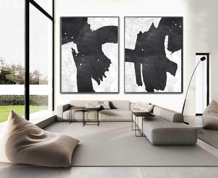 Set Of 2 Extra Large Acrylic Painting On Canvas, Minimalist Painting Canvas Art, Black White Contemporary Art, HANDMADE.