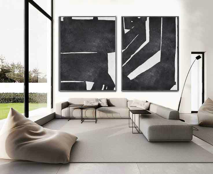 Set Of 2 Extra Large Contemporary Art Acrylic Modern Wall On Canvas Minimalist