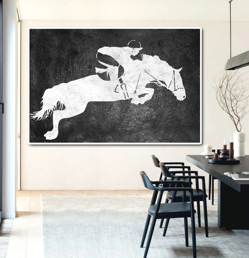 Hand Painted Extra Large Abstract Painting, Horizontal Acrylic Painting Large Wall Art. Black And White Horse oil Painting. Polo Art.