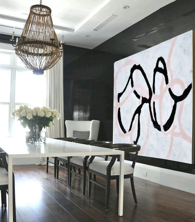 Handmade Painting Large Abstract Art, Hand Painted Aclylic Painting On Canvas Minimalist Art, Black White Pink.