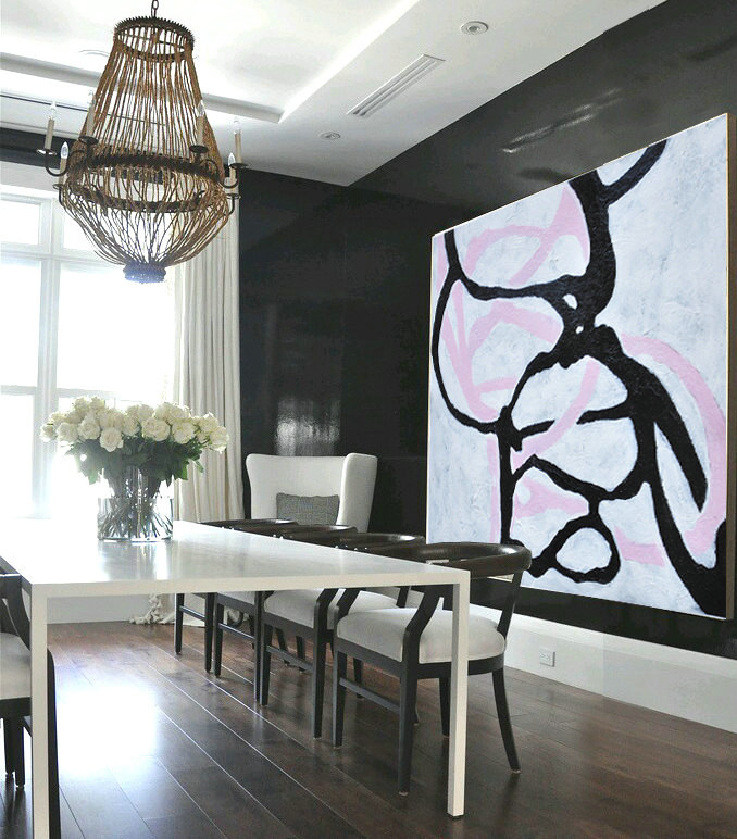 Handmade Painting Large Abstract Art, Hand Painted Aclylic Painting On Canvas Minimalist Art, Black White Purple Grey.