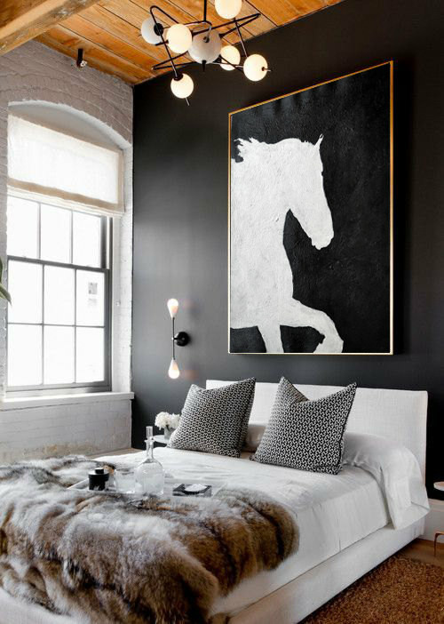 Black And White Horse Oil Painting Minimalist Art, Large Canvas Art. Abstract Painting, Modern Art. Hand Painted Acrylic Painting.