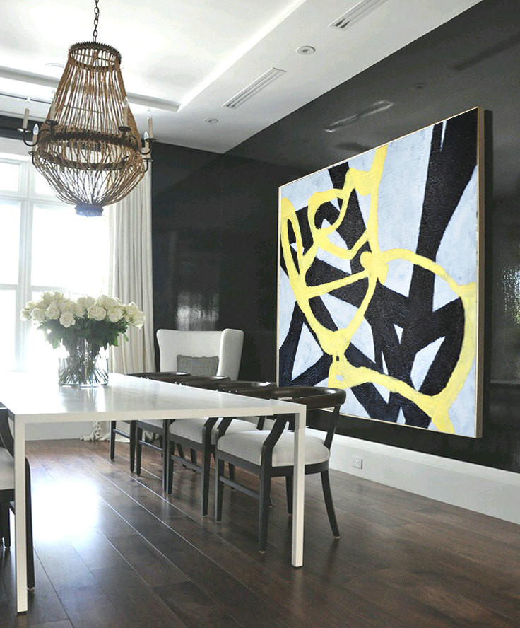 Large Abstract Art, Hand Painted Aclylic Painting On Canvas Minimalist Art, Black White Yellow.