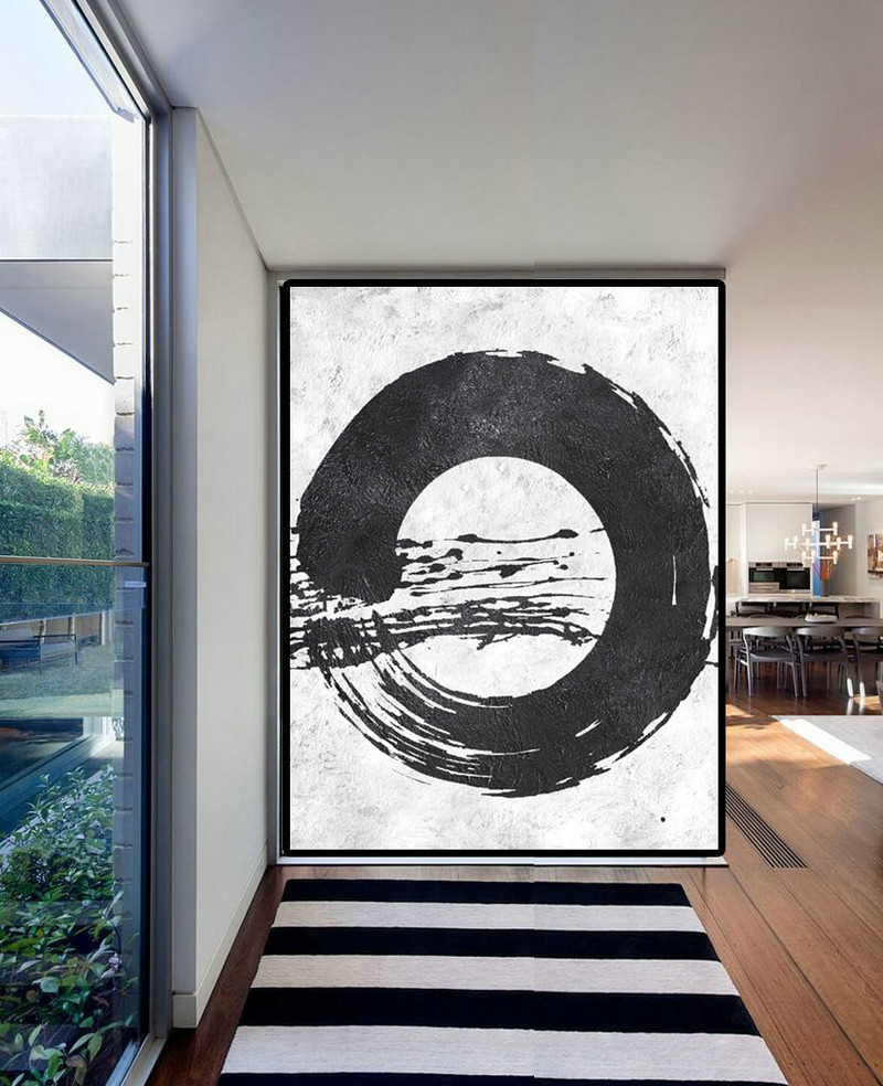 Extra Large Acrylic Painting On Canvas, Minimalist Painting Canvas Art, Black White Zen Painting, HAND PAINTED Original Art.