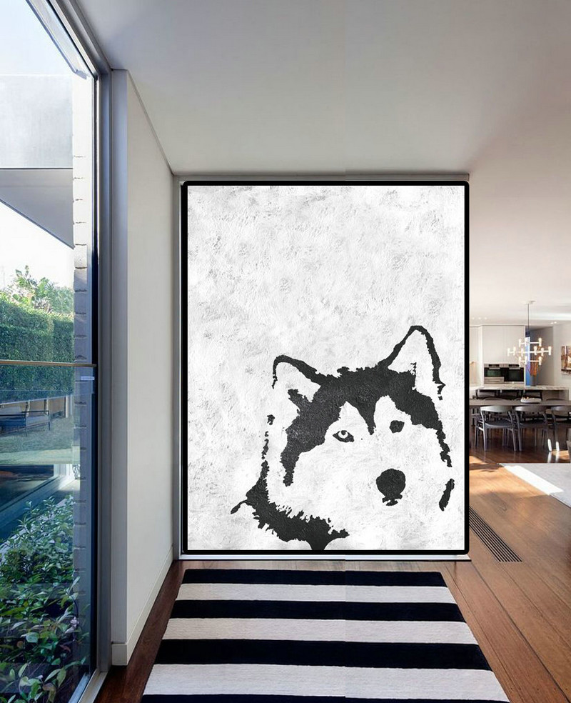 Extra Large Acrylic Painting On Canvas, Minimalist Painting Canvas Art, Black White Wolf Painting, HAND PAINTED Original Art.