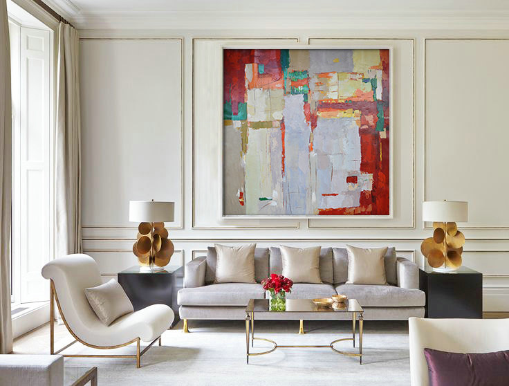 Hand Made Large Acrylic Painting On Canvas, Abstract Art Decor. Large Contemporary Paintingt - By Biao