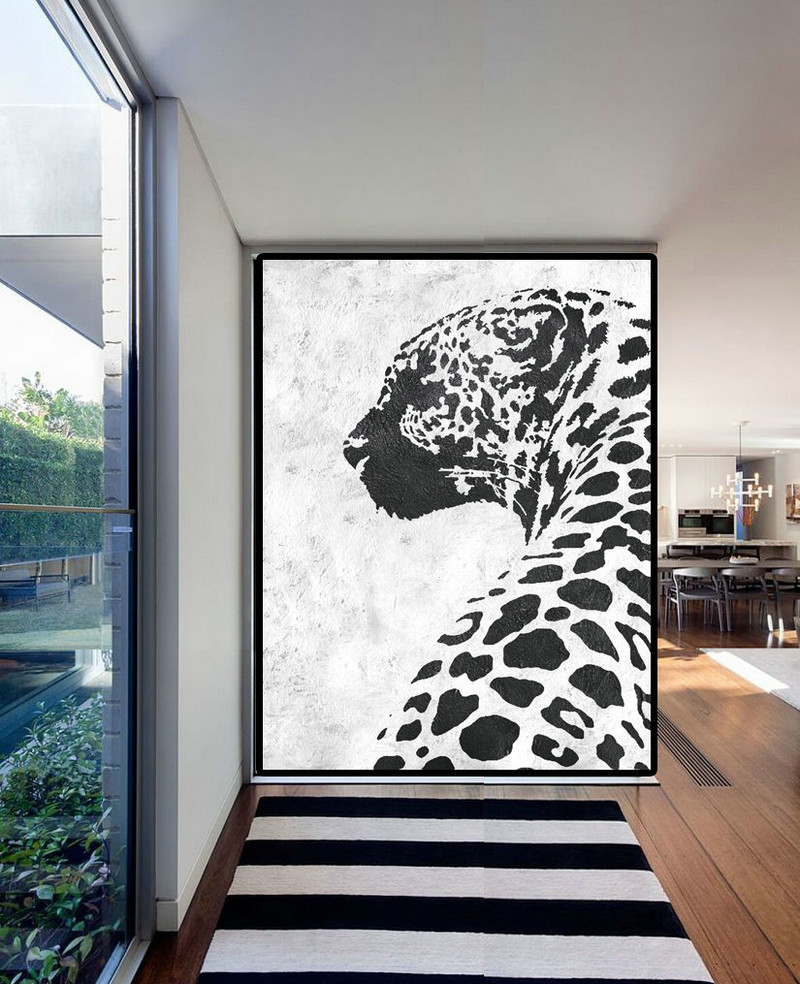 Extra Large Acrylic Painting On Canvas, Minimalist Painting Canvas Art, Black White Leopart Painting, HAND PAINTED Original Art.