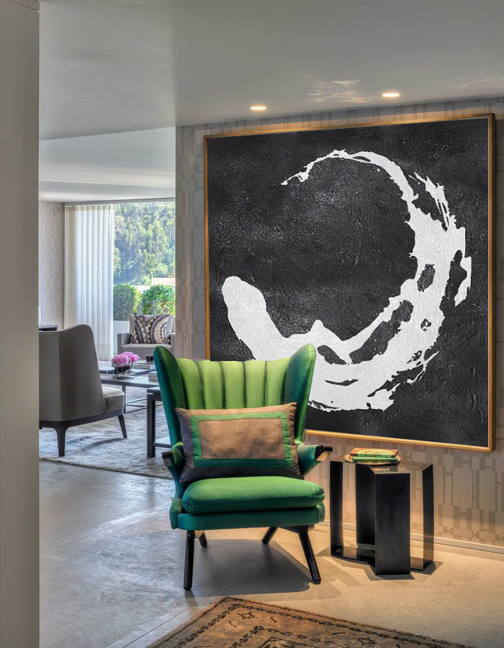 Extra Large Painting, Large Canvas Art. Mminimalist Art, Modern Art Abstract Painting Black and White Circle Earth.