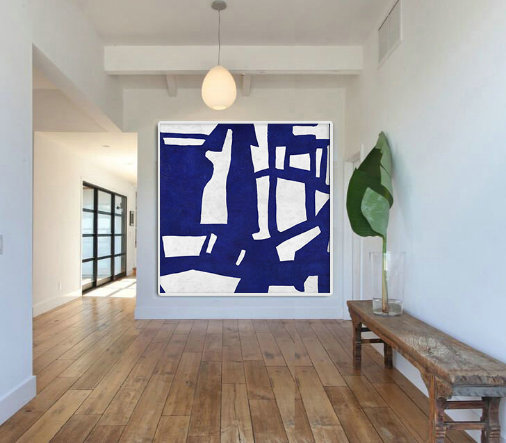 Hand Made Blue White Painting, Minimalist Abstract Art Canvas Art, Large Wall Art Home Decor, Acrylic Painting On Canvas