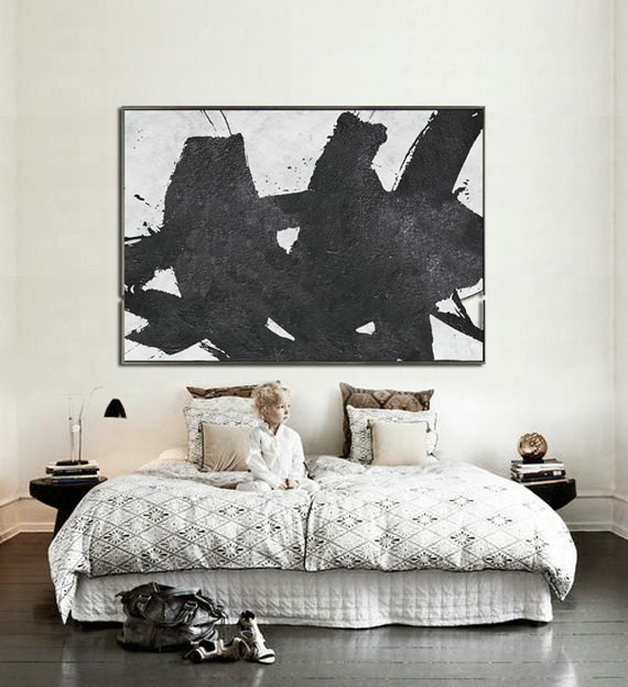 Hand Painted Extra Large Abstract Painting, Horizontal Acrylic Painting Large Wall Art. Black And White Minimalist Painting.