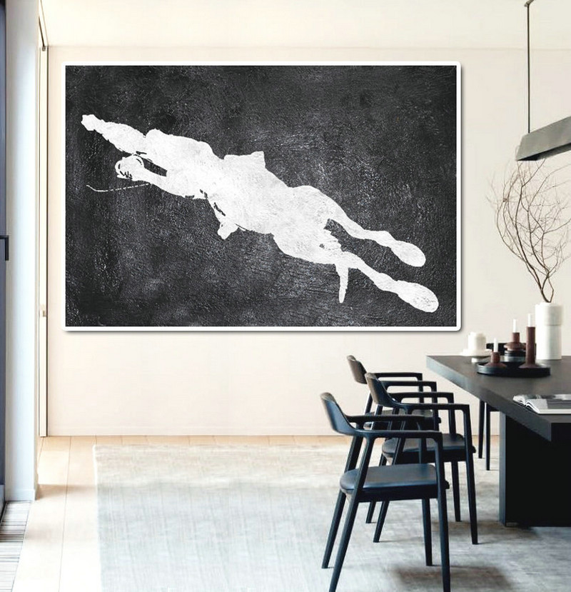 Hand Painted Extra Large Abstract Painting, Horizontal Acrylic Painting Large Wall Art. Black And White Horse Painting. Polo Art.