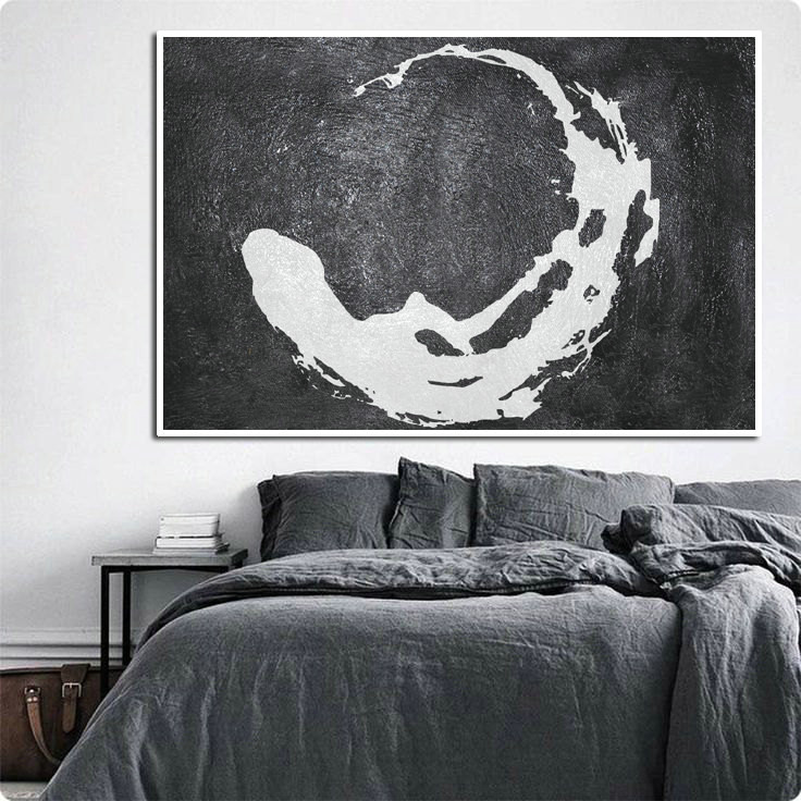 Handmade Original Painting, Large Abstract Acrylic Painting, Canvas Painting Black White Modern Art Minimalist Painting.