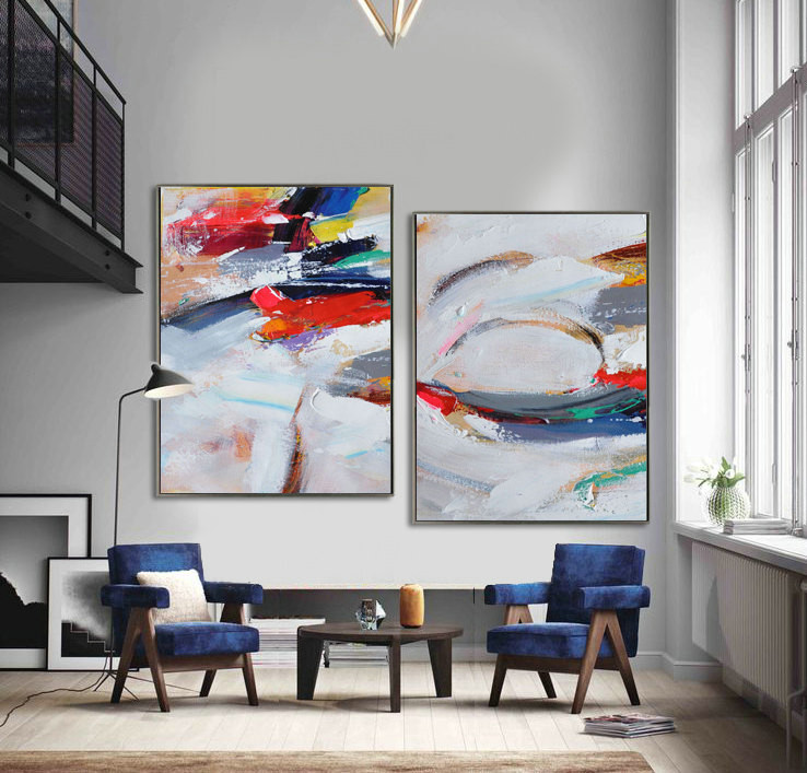 Set Of 2 Large Contemporary Painting, Abstract Canvas Art, Original Artwork, Blue, white, gray, red, green - By Leo