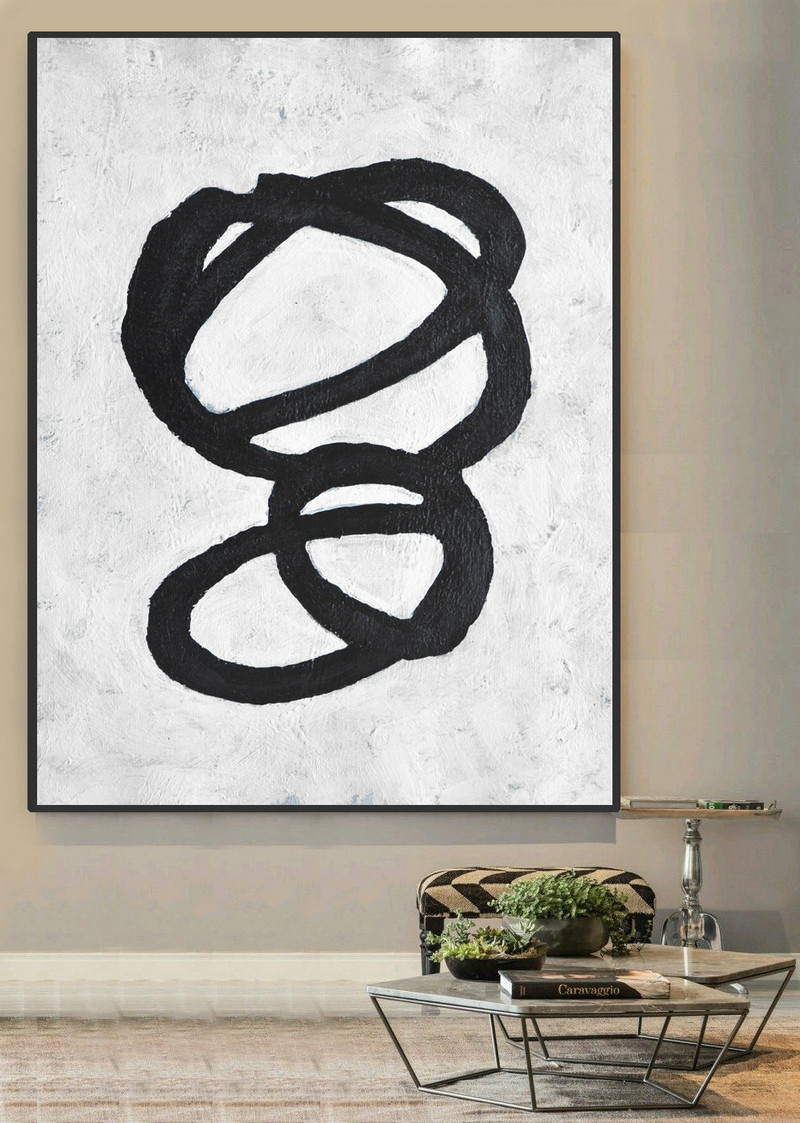 Large Abstract Art, Handmade Painting Minimalist Art, Abstract Painting On Canvas, Twisted Circles. Black White.