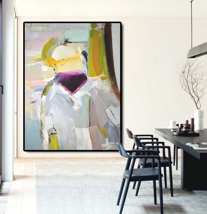 Large Abstract Art Oil Painting Canvas Art, Contemporary Art Hand Painted Abstract Painting, Yellow Green Purple Grey.