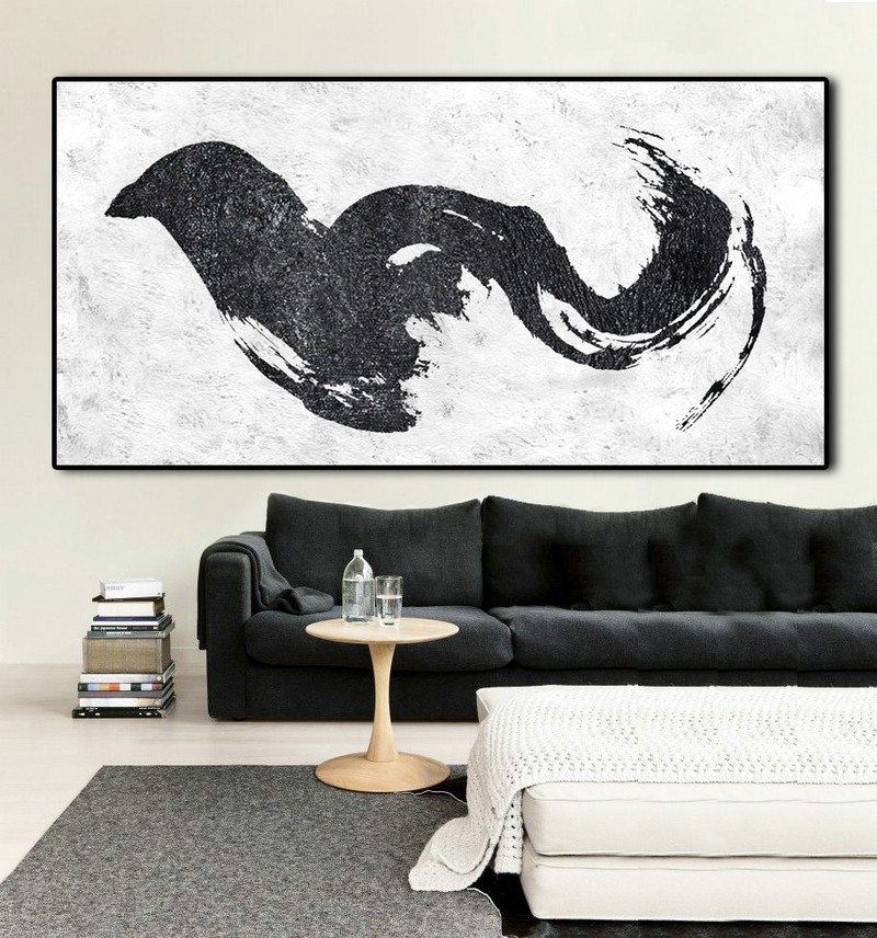 "Extra Large 72"" Horizontal Acrylic Painting On Canvas, Minimalist Painting Canvas Art, Black And White , Original Art."