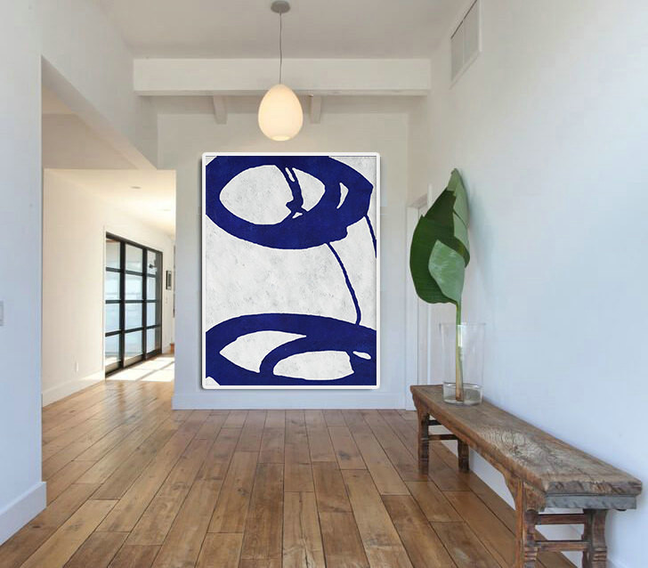 Blue And White Abstract Painting on Canvas, Large Abstract Art Wall Art, Minimalist Art Hand Made Acrylic Painting.