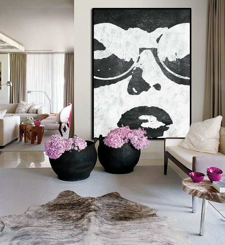 Large Abstract Art, Hand Painted Oil Painting Minimalist Art, Abstract Painting On Canvas, Modern Art. Black White.