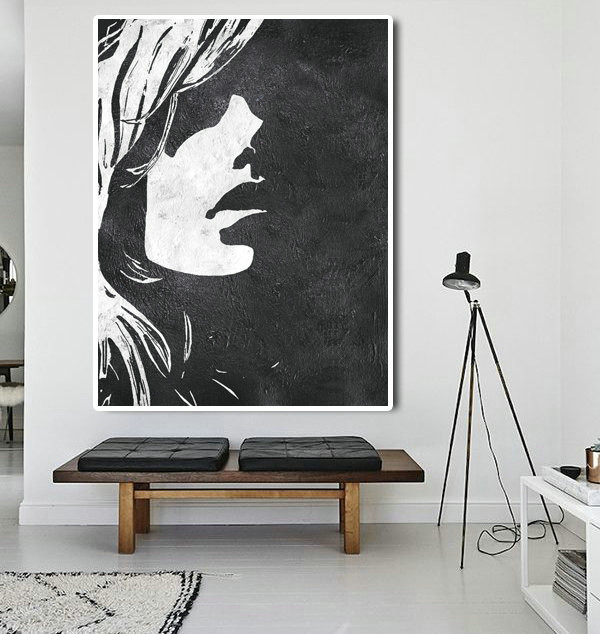Extra Large Abstract Painting On Canvas, Textured Painting Canvas Art, Black And White Figure Art Handmade.