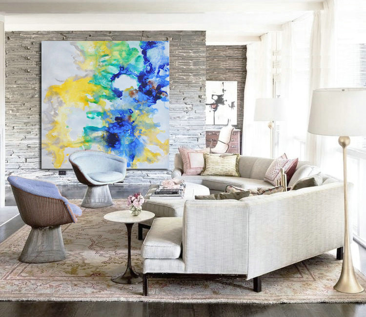Large Hand-painted Contemporary Oil Painting on Canvas. Blue, Yellow, Original Art by Jackson