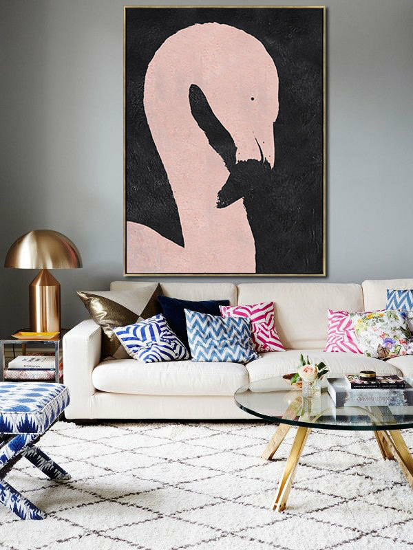 Large minimal art, Hand-painted Abstract Painting on canvas, Black and Pink Flamingo Art