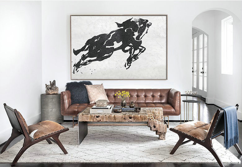 Original Art Abstract Horse Painting, Black White Minimalism, Canvas Art.
