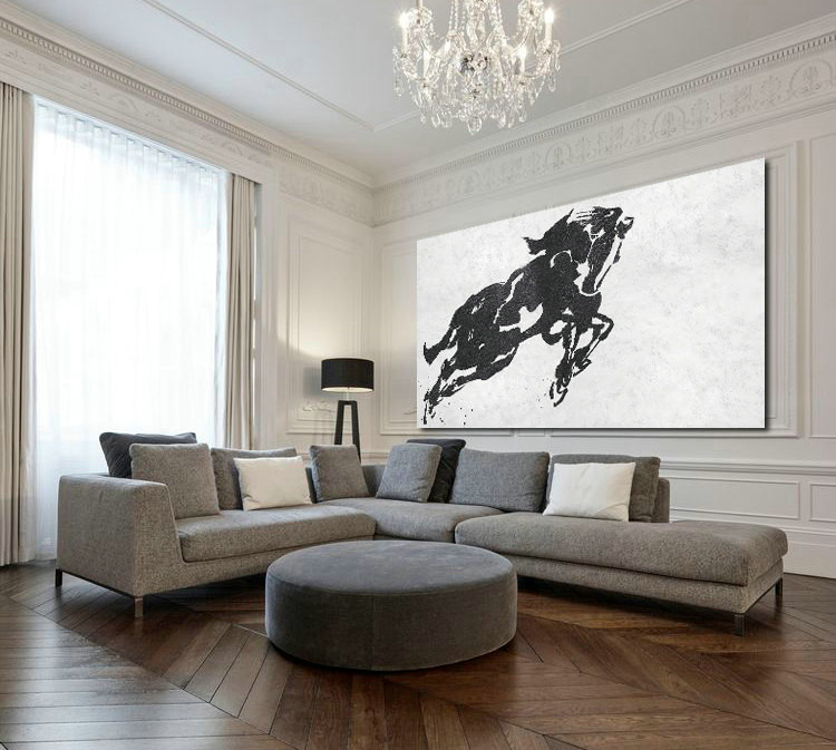 Long And Wide Acrylic Painting On Canvas, Minimalist Painting Canvas Art, Black White Horse, Minimalism, Original Art