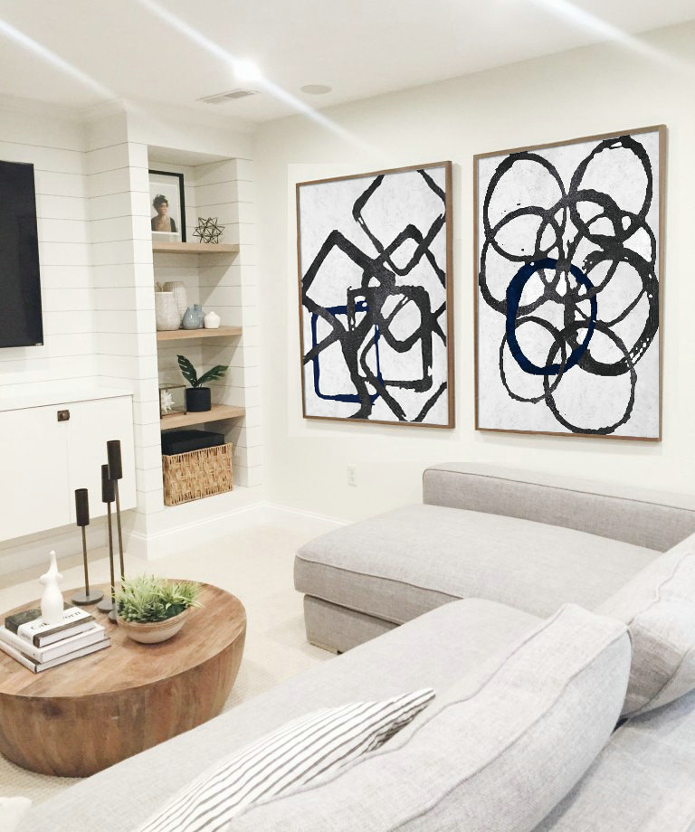 Set Of 2 Huge Contemporary Art Acrylic Painting On Canvas, Minimalist Canvas Geometrical Art, Black, white, navy blue.