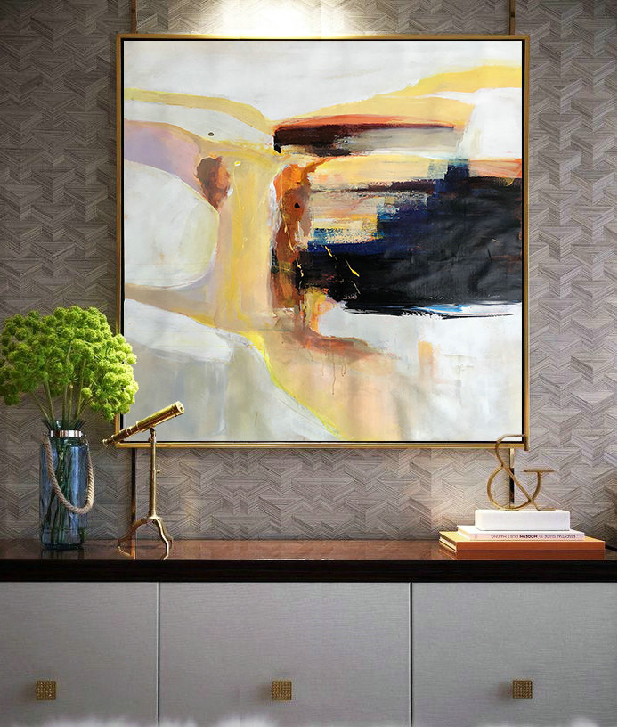 Large Contemporary Art On Canvas, Hand Paint Abstract Painting by Leo.